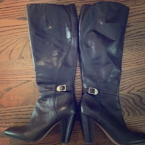 Work-of-art knee-high leather boots